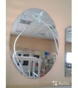 """Зеркало с пескоструйным рисунком """"Колибри"""""""